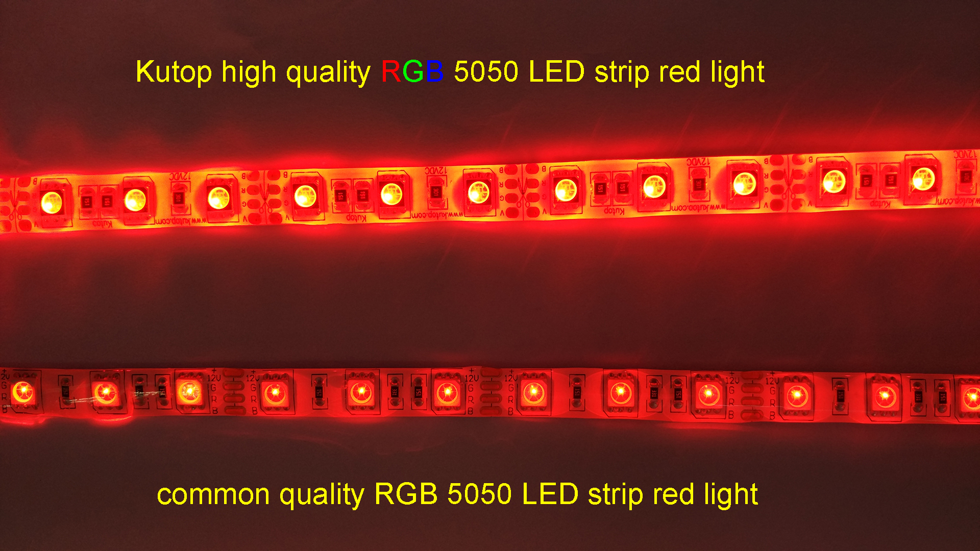 Kutop alta calidad RGB 5050 luz roja tira de LED