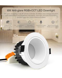 MiBoxer FUT070 MiLight anti-glare 6W RGB+CCT LED ceiling downlight